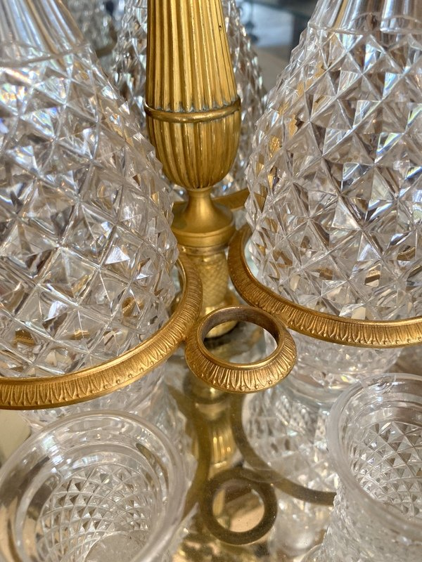 Empire Period Cabaret In Gilt Bronze And Crystal-photo-1