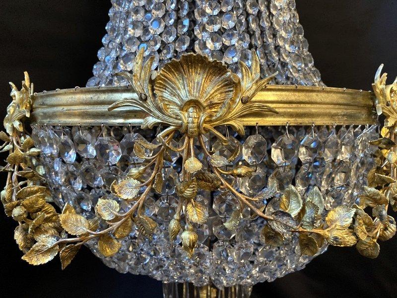 Lustre Montgolfière En Bronze Et Cristal-photo-1
