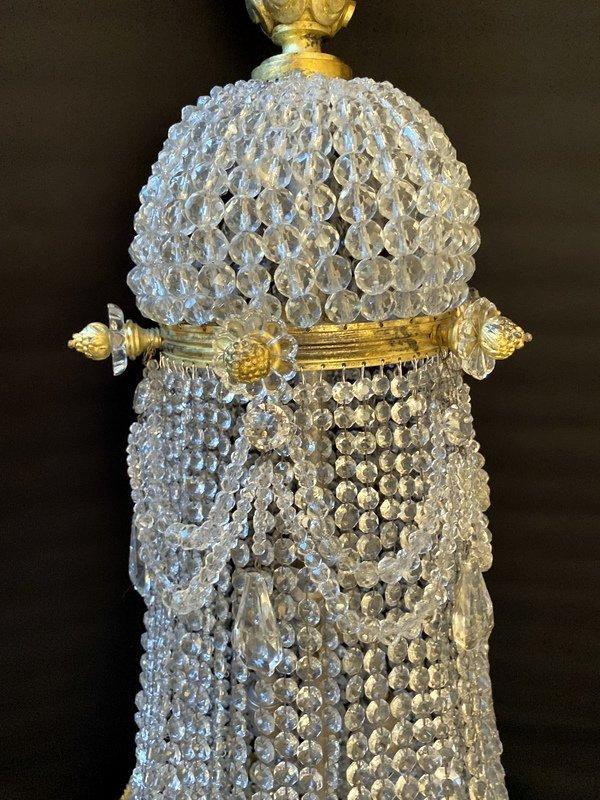 Lustre Montgolfière En Bronze Et Cristal-photo-2