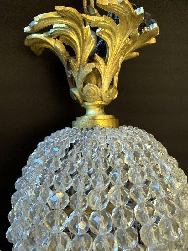 Lustre Montgolfière En Bronze Et Cristal-photo-3