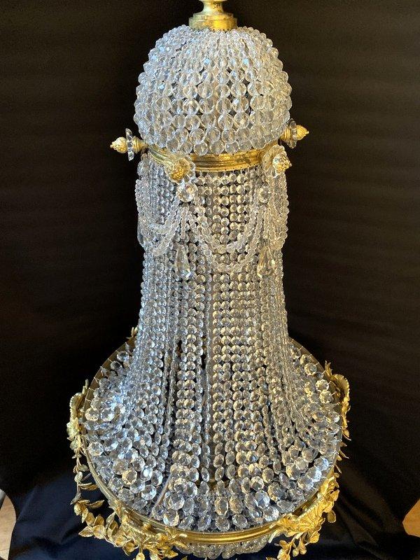 Lustre Montgolfière En Bronze Et Cristal-photo-4