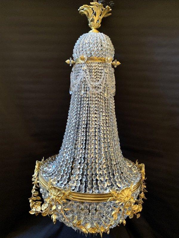 Lustre Montgolfière En Bronze Et Cristal-photo-5