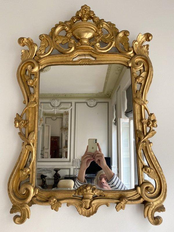 Miroir Louis XV à Pareclose En Bois Doré