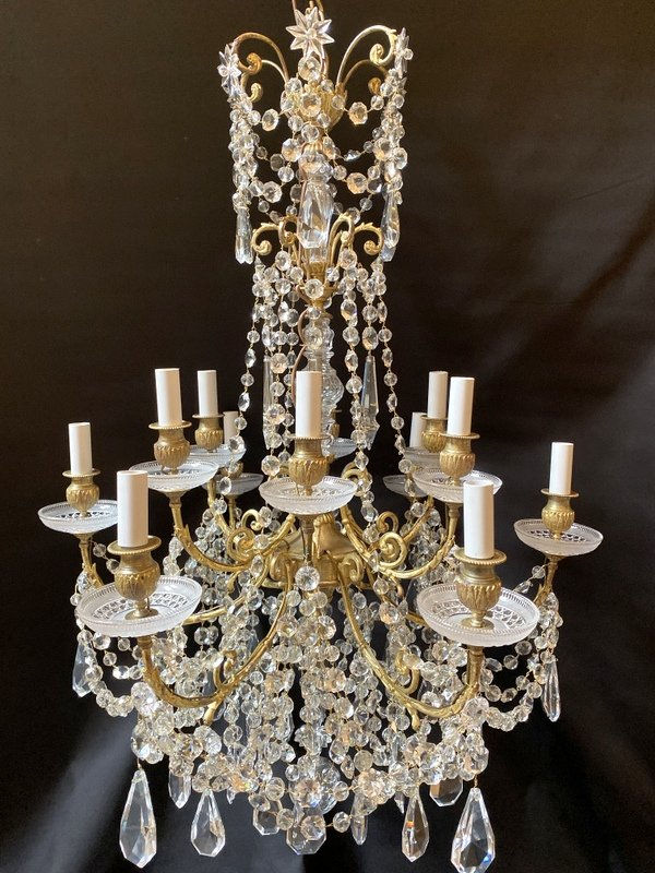 Baccarat Chandelier In Gilt Bronze And Crystal