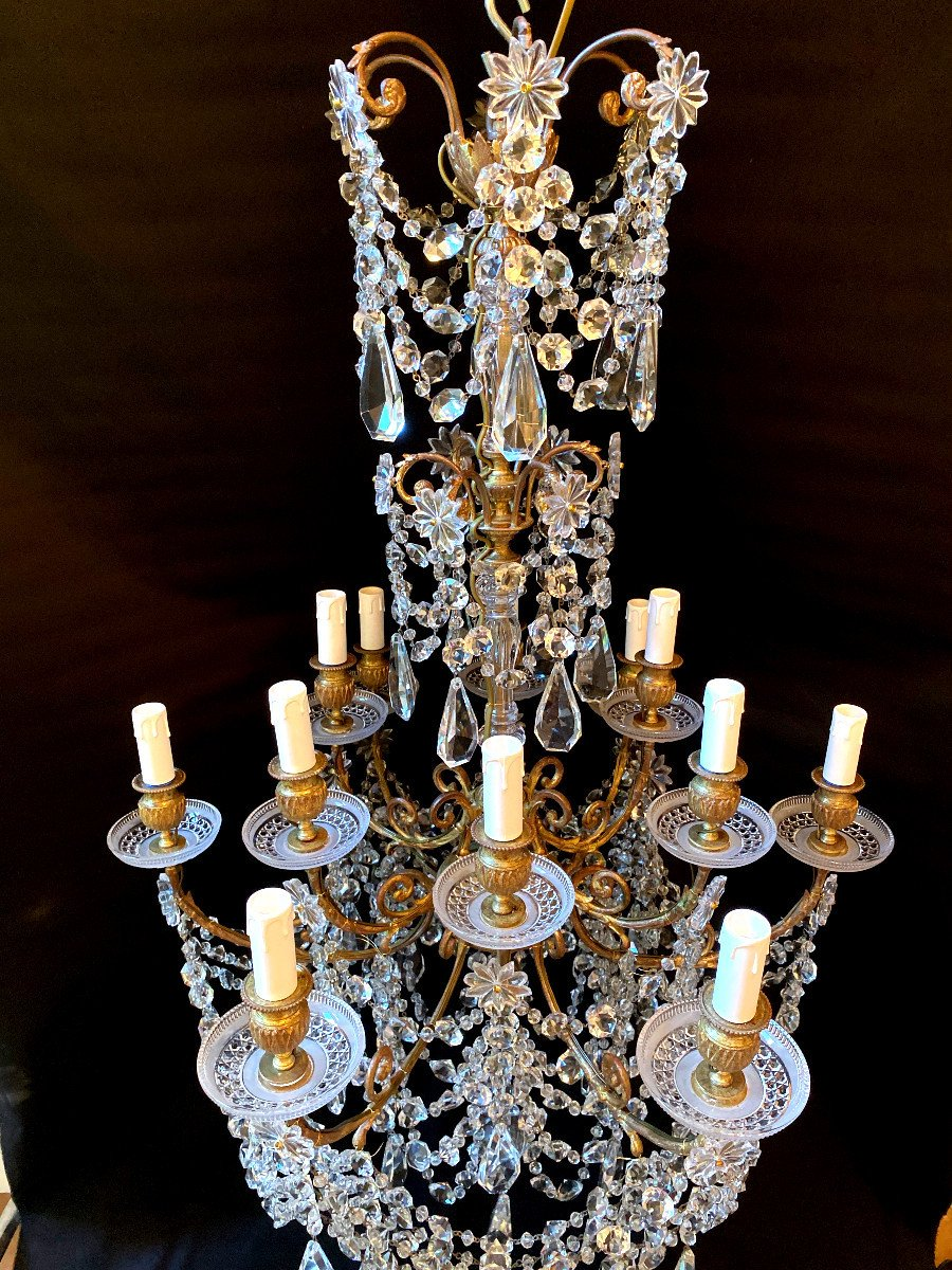 Baccarat Chandelier In Bronze And Crystal-photo-3