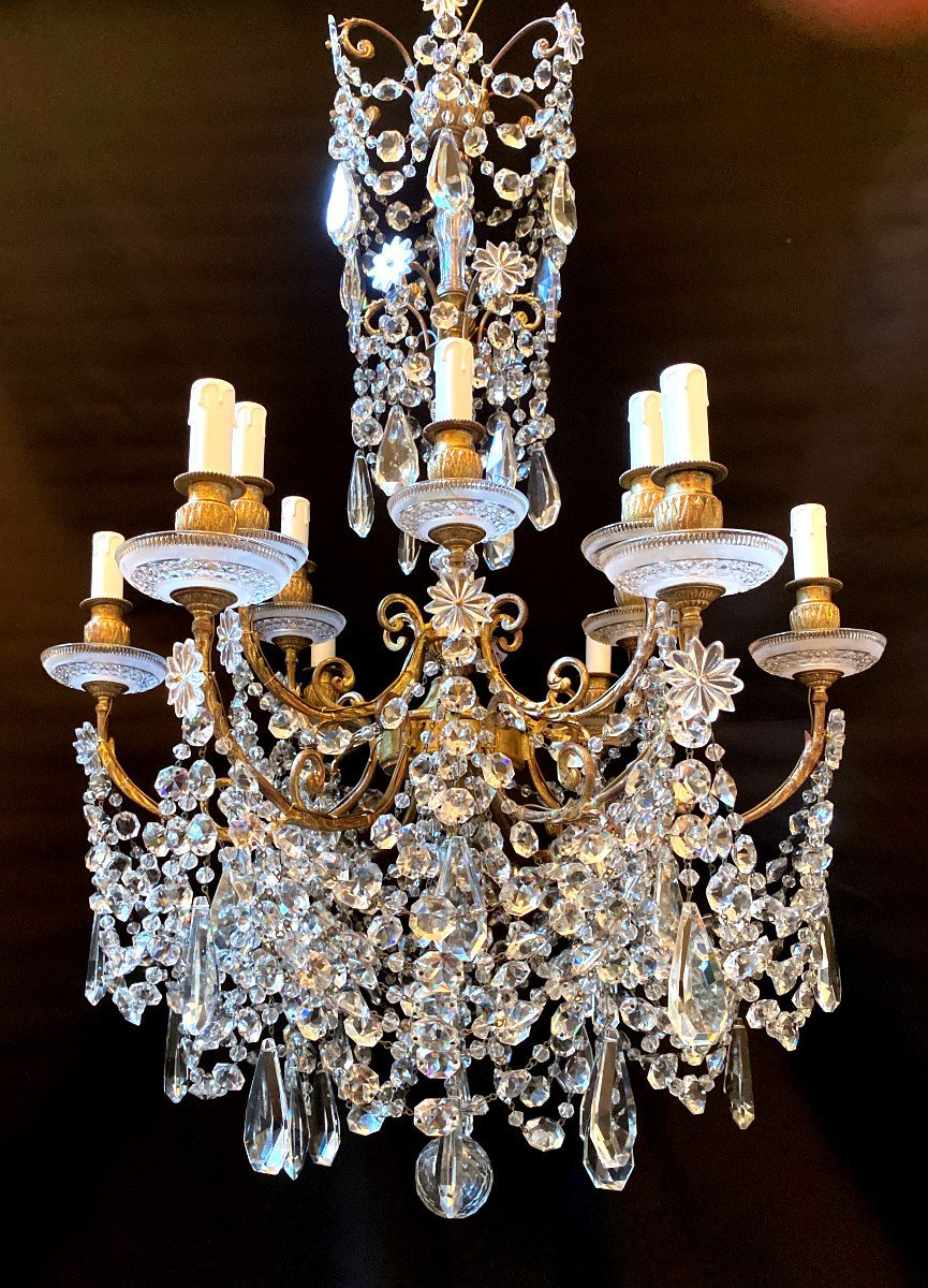 Baccarat Chandelier In Bronze And Crystal