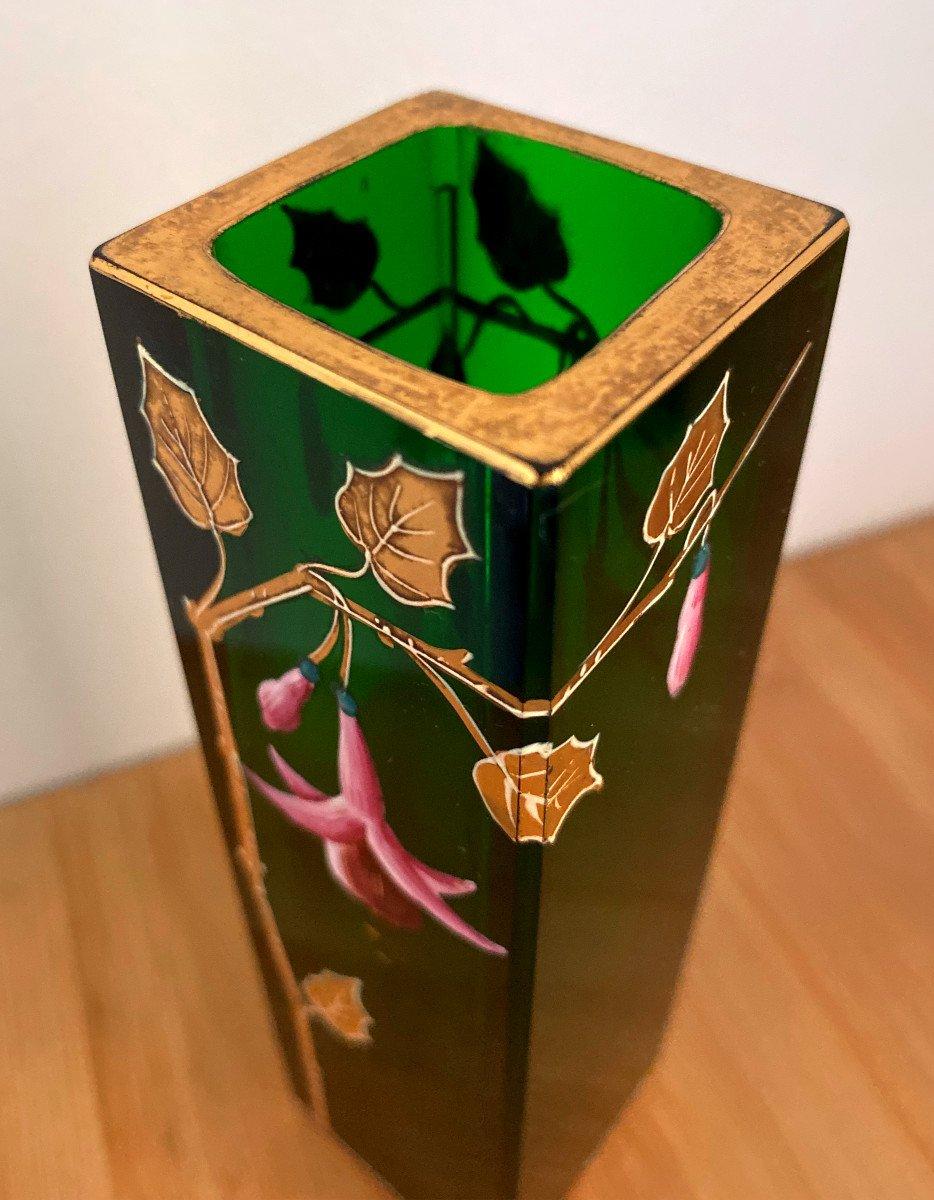 Vase En Cristal Vert émaillé Et Doré-photo-1