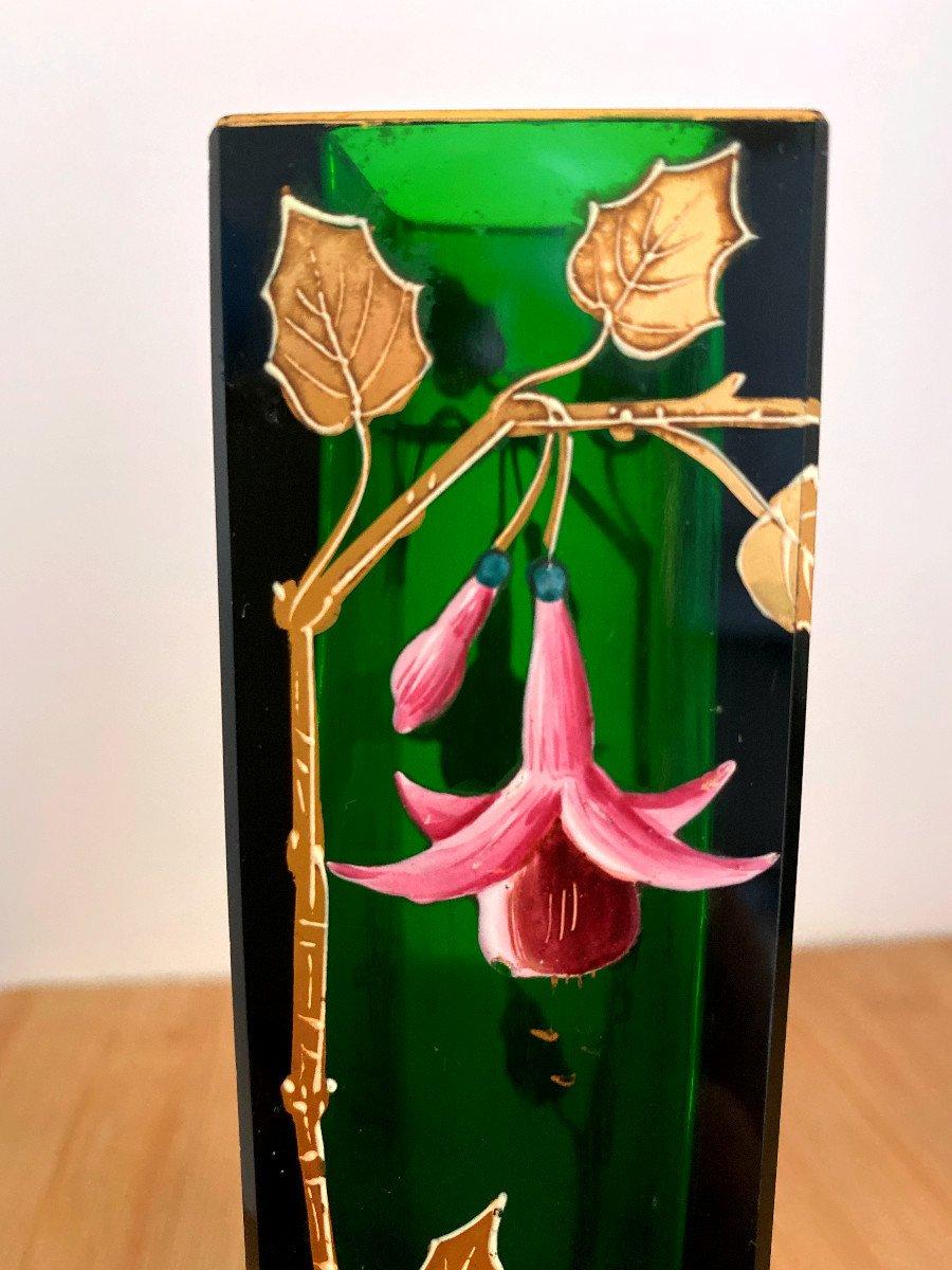 Vase En Cristal Vert émaillé Et Doré-photo-2