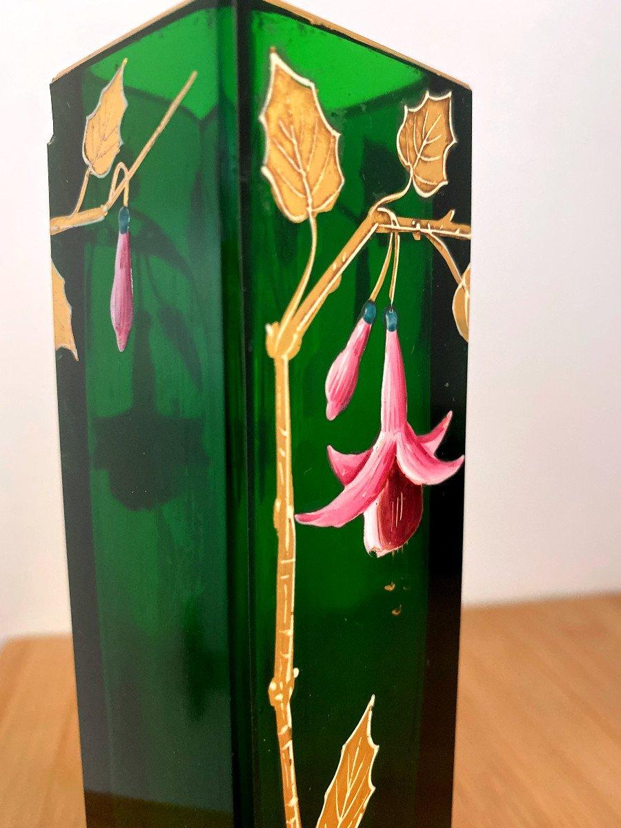 Vase En Cristal Vert émaillé Et Doré-photo-3
