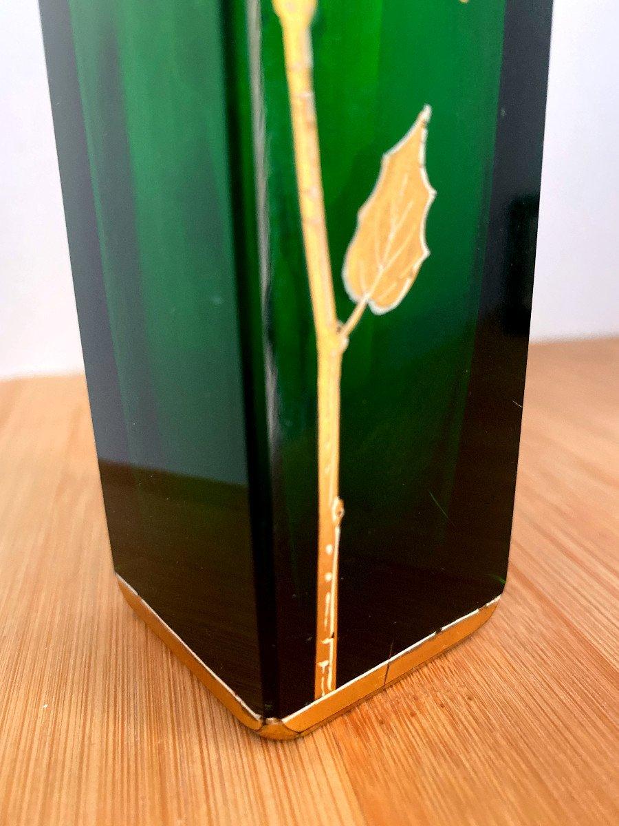 Vase En Cristal Vert émaillé Et Doré-photo-4