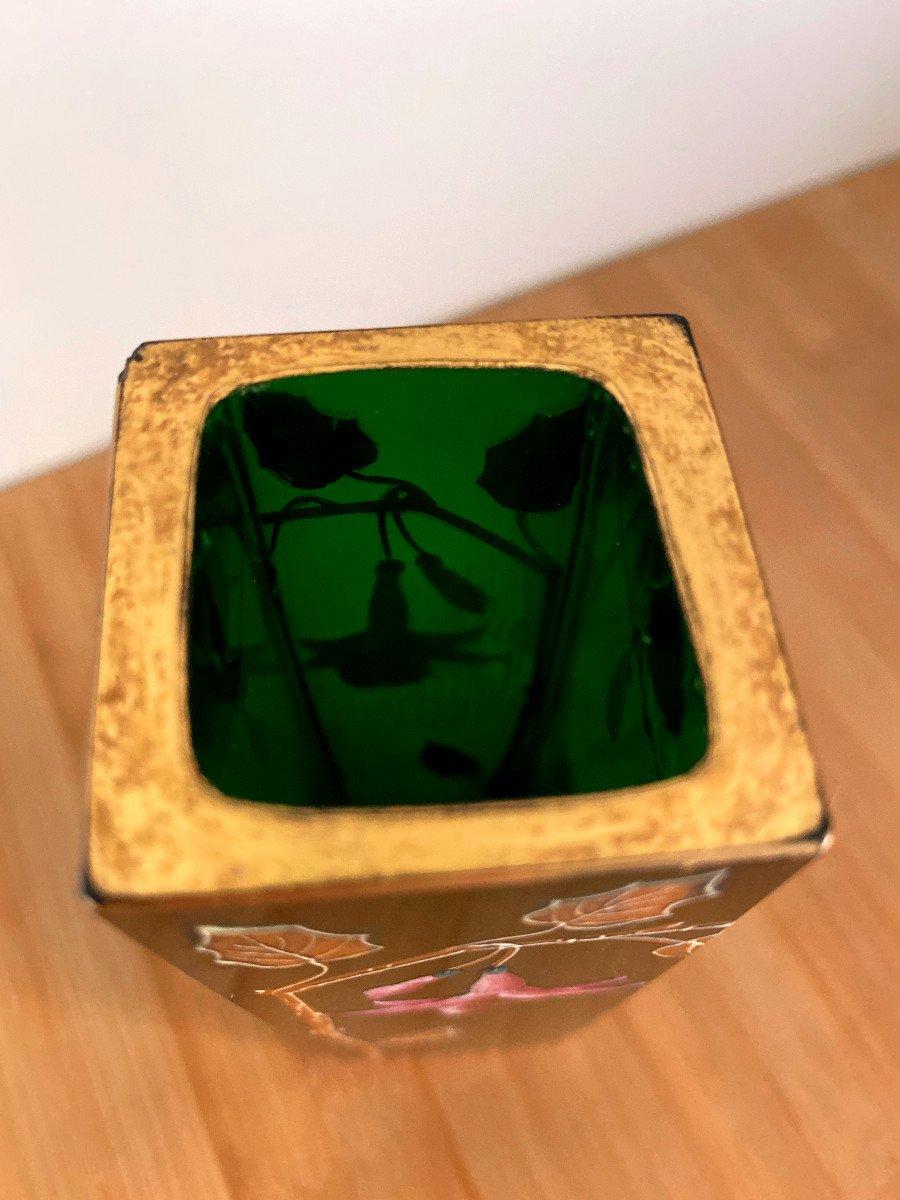 Vase En Cristal Vert émaillé Et Doré-photo-5