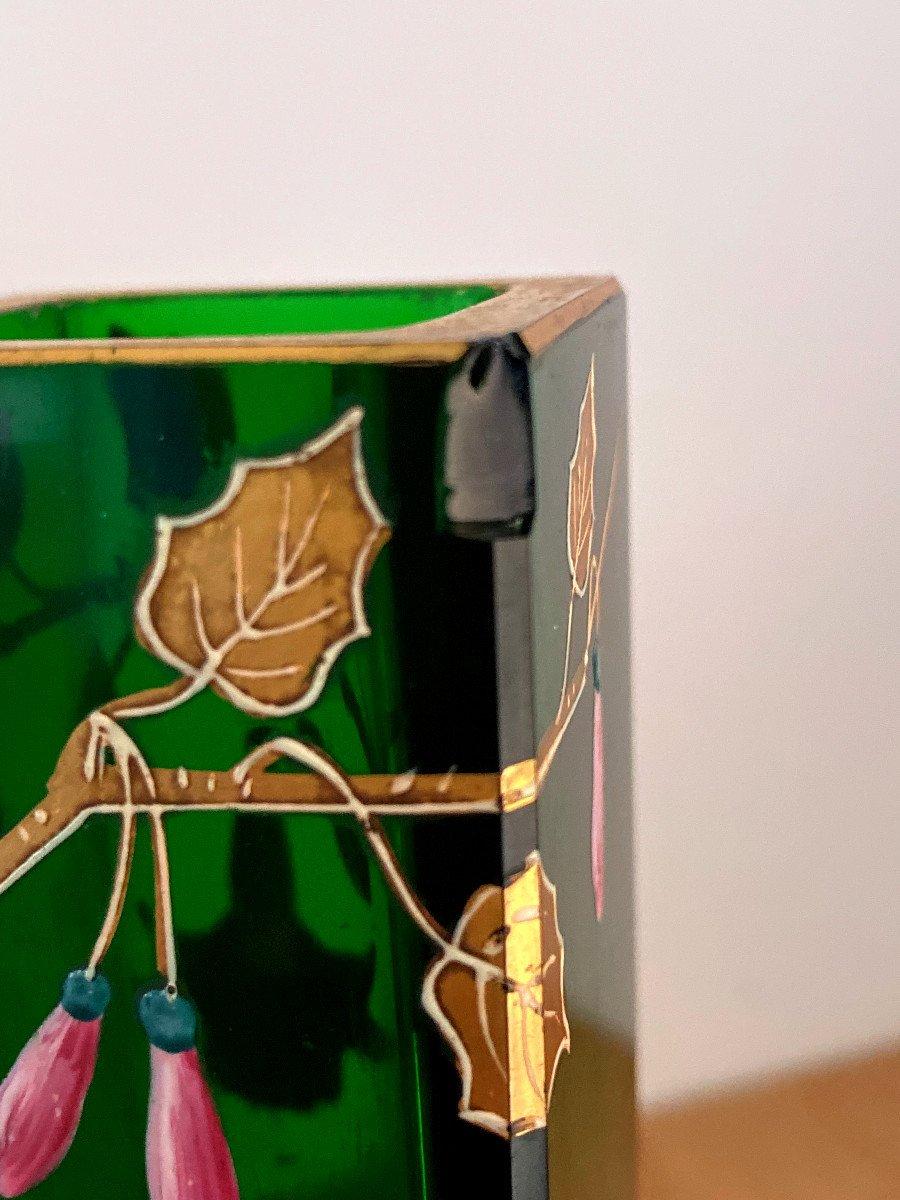 Vase En Cristal Vert émaillé Et Doré-photo-7