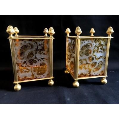 Pair Of Flower Boxes In Bohemian Crystal And Gilt Bronze
