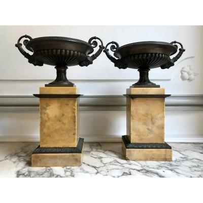 Pair Of Cassolettes Empire Bronze And Marble