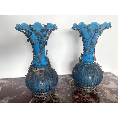 Pair Of Blue Opaline Vases And Silver Frame