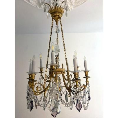 Louis XVI Style Chandelier In Gilt Bronze And Crystal