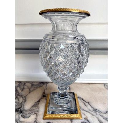 Vase d'époque Empire En Cristal Taillé Et Bronze Doré