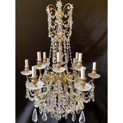 Lustre Baccarat En Bronze Doré Et Cristal