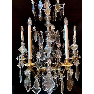 Lustre d'époque Louis XV Au C Couronné En Bronze Et Cristal