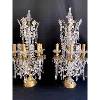 Pair Of Girandoles In Bronze And Crystal