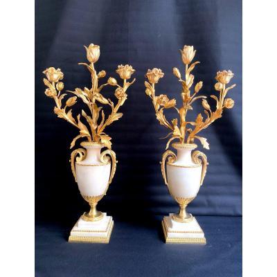 Paire De Candélabres Style Louis XVI En Bronze Doré Et Marbre