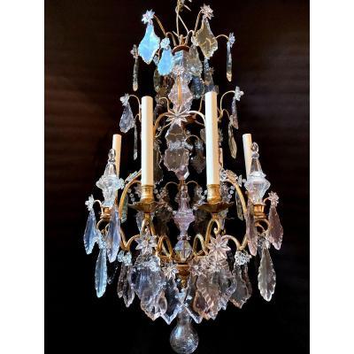 Lustre Cage d'époque Louis XV En Bronze Doré Et Cristal