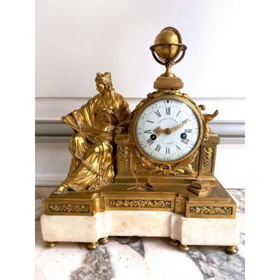 Pendule Louis XVI En Bronze Doré Signé Gille l'Ainé