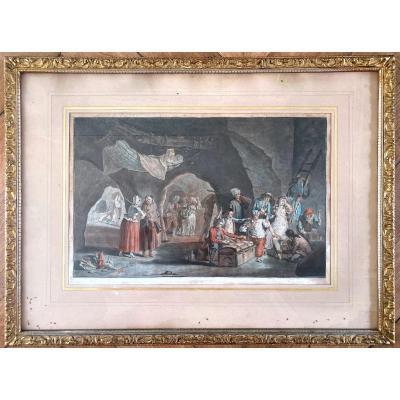Gravure Gouachée Signé Faroy Et Daté 1786
