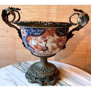 Coupe En Porcelaine Imari Montée Bronze