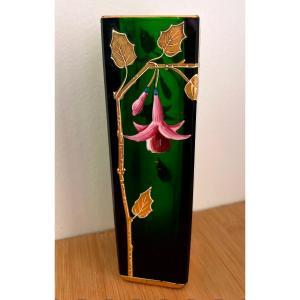 Vase En Cristal Vert émaillé Et Doré