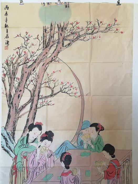 Peinture Sur Soie A Décor De Geisha - Chine Début Du XXème Siècle -photo-1