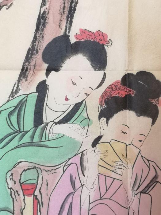Peinture Sur Soie A Décor De Geisha - Chine Début Du XXème Siècle -photo-4