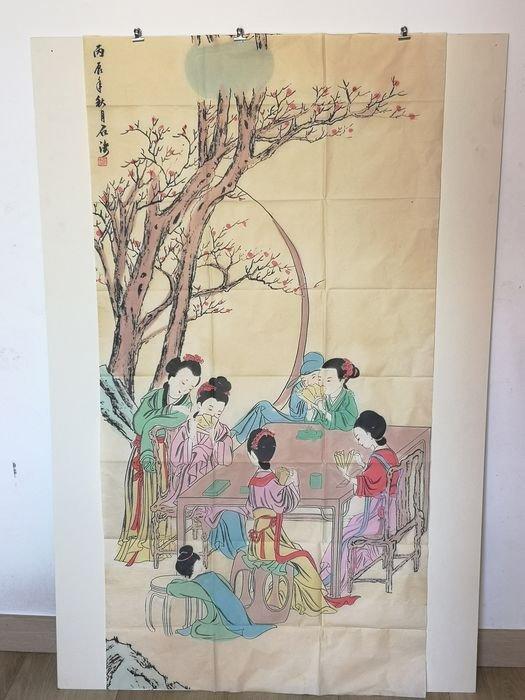 Peinture Sur Soie A Décor De Geisha - Chine Début Du XXème Siècle