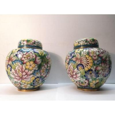 Pair Of Cloisonne Brass Ginger Jars Japan Meiji Period