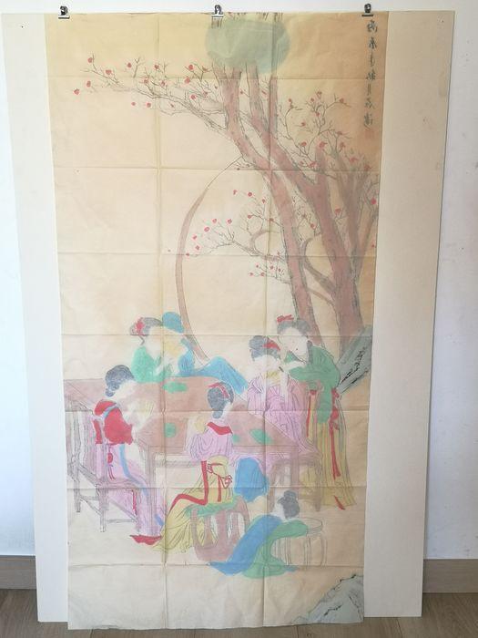 Peinture Sur Soie A Décor De Geisha - Chine Début Du XXème Siècle -photo-3