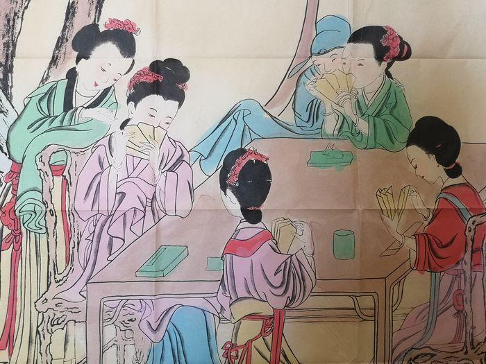 Peinture Sur Soie A Décor De Geisha - Chine Début Du XXème Siècle -photo-2