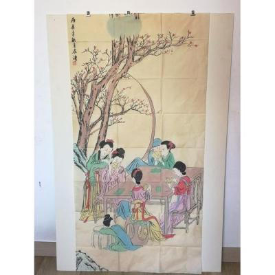 Painting On Silk With Geisha Decor - China Early 20th Century