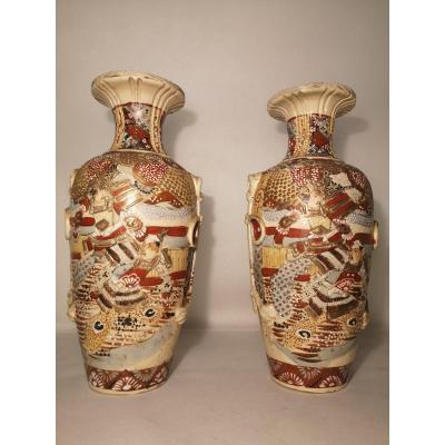 Pair Of Satsuma Porcelain Vases From Meiji Period (1868 - 1912)