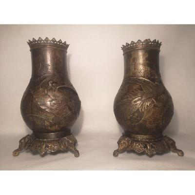 Pair Of Carved And Incised Vase Decorated With Cranes In The Middle Of The Rice Fields.