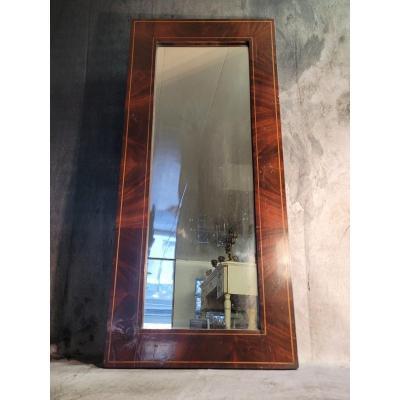 Miroir En Plaquage d'Acajou XIXème