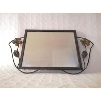 Wrought Iron Mirror Art Deco Floral Pattern