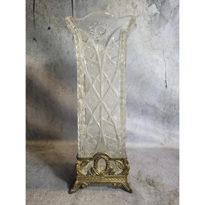 Vase En Cristal Et Monture En Bronze Attribué à Baccarat