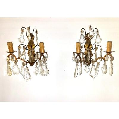 Louis XV Style Wall Lights Gilt Bronze And Pampilles