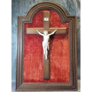 Crucifix Sur Cadre En Chêne Christ En Croix Fin XIXe