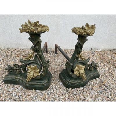 Paire De Chenets Bronze