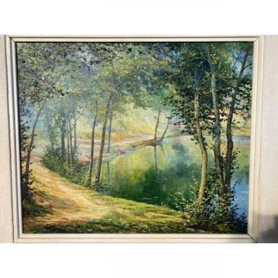 Painted Canvas Landscape R M. DÉbat (1906-1972)