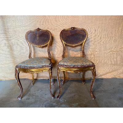 2 Louis XV Style Golden Wood Chairs