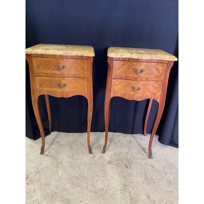 Pair Of Louis XV Style Marquetry Nightstands