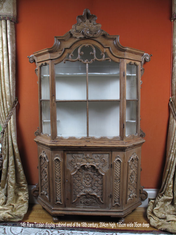 An Exceptional Very Decorative Tyrollean Carved Pine Display Cabinet
