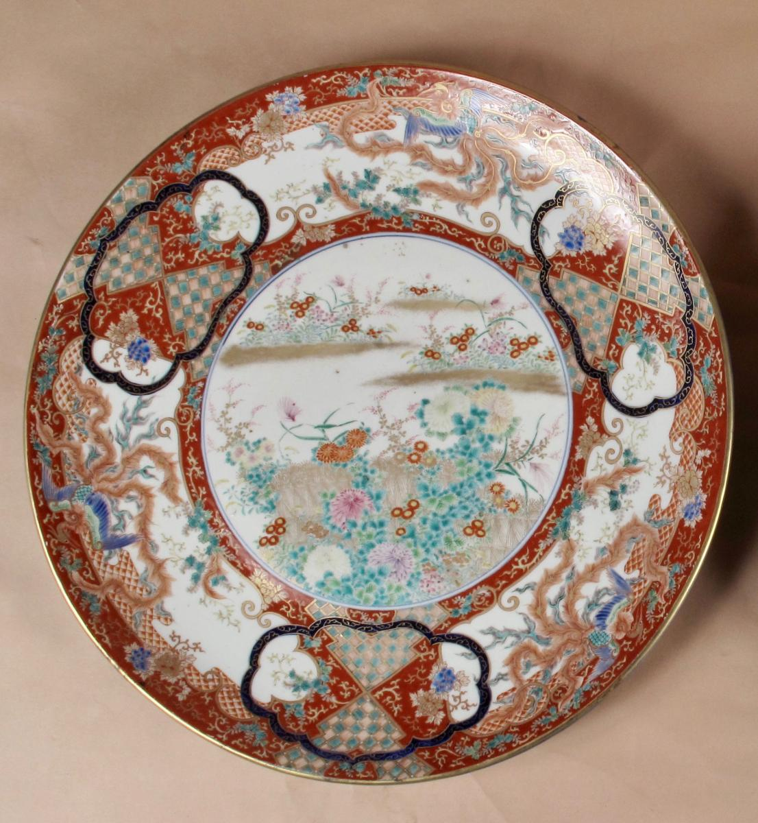 An Interesting Very Fine Painted Large Kutani Charger Signed, Japan, Meiji Period, (1868-1912)